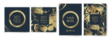 Set Of Design Templates With Golden Texture, Marble Effect. Luxury And Elegance. Gold And Blue Color.