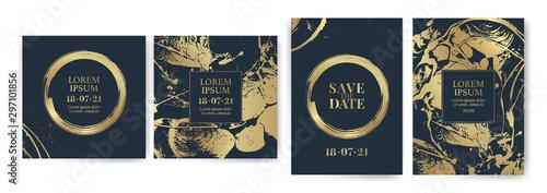 Fotografia  Set of design templates with golden texture, marble effect
