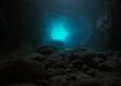 Rocks underwater inside a cave on the seashore, natural scene, Mediterranean sea, Spain, Palamos, Costa Brava, Catalonia