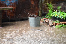 Old Iron Bucket In A Puddle In...