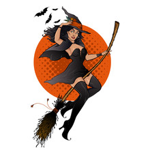 Witch On A Broomstick. Pretty Woman In Black Witch Hat Flying On A Broomstick. Halloween Mascot In Pin Up Style For Cards, Posters, Label Design, Tee Shirt Prints.