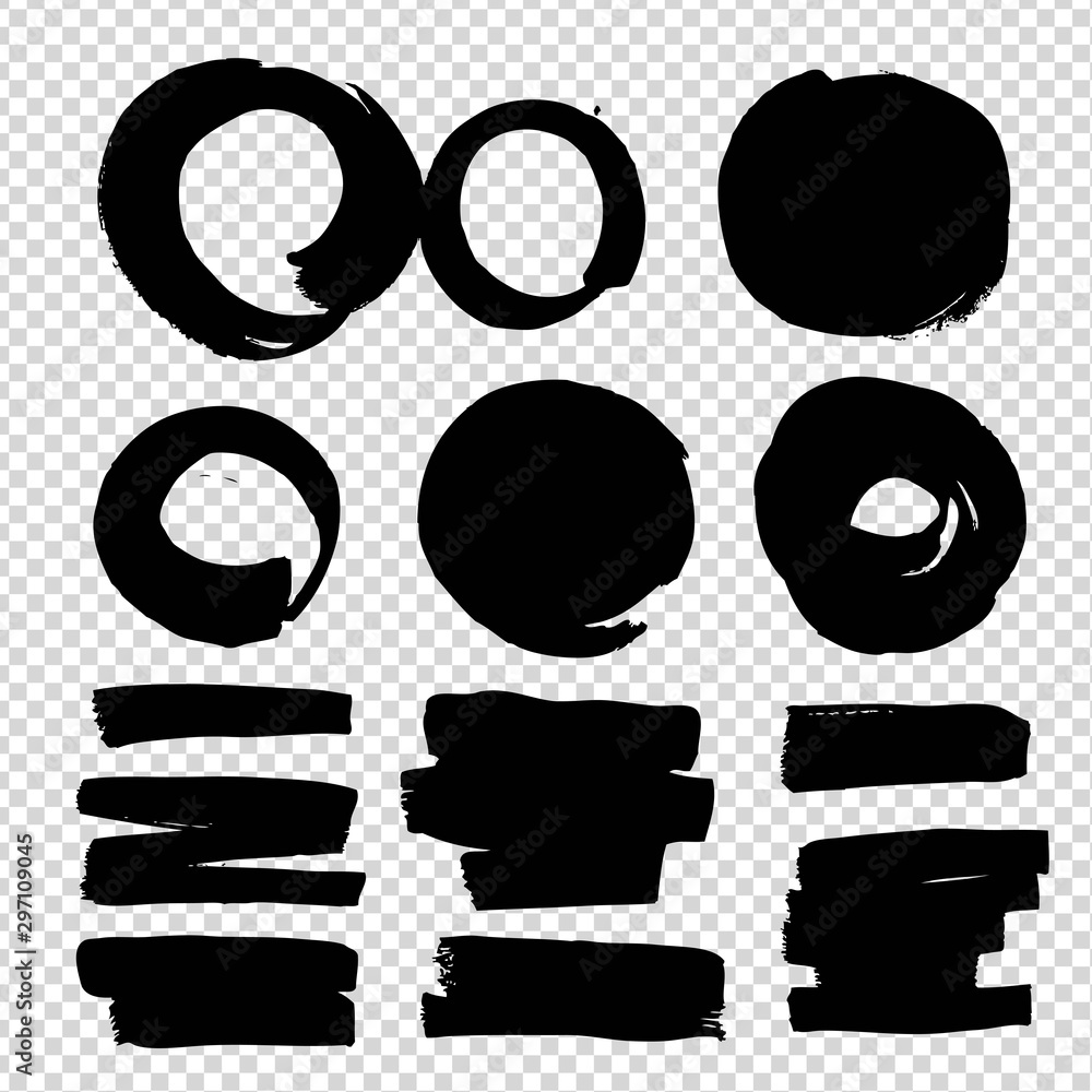 Fototapety, obrazy: Abstract black circle and smooth textured smears isolated on imitation transparent background