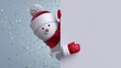 3d snowman looking out the corner, holding blank banner, blinking and smiling. Gold confetti falling. Merry Christmas or Happy New Year animated greeting card. Winter holiday background. 1920x1080 hd
