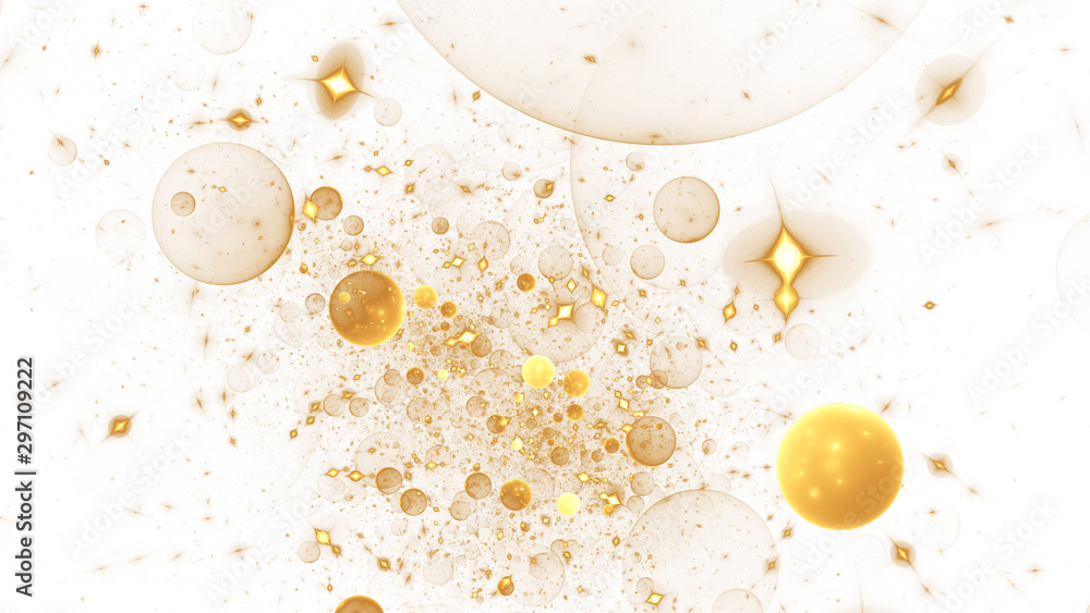 Fototapety, obrazy: Abstract holiday background with golden stars and drops. Fantastic light effect. Digital fractal art. 3d rendering.