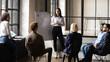 canvas print picture - Confident lady business trainer coach give flip chart presentation