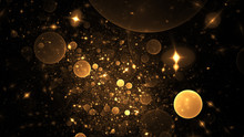 Abstract Holiday Background With Golden Stars And Drops. Fantastic Light Effect. Digital Fractal Art. 3d Rendering.