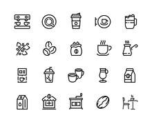 Coffee Line Icons. Beans Take ...