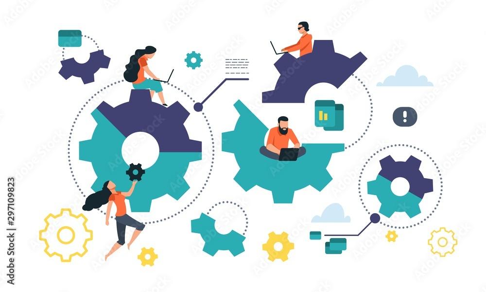 Fototapeta Cogwheel cooperation concept. Flat gear business mechanism, people management and organization. Vector illustrations integration mechanism business communication into people lives