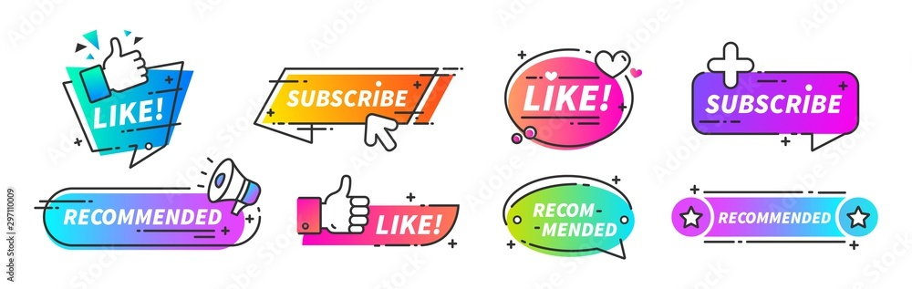 Fototapeta Recommend banner. Thumb up tags with with like and subscribe buttons for video channels or podcast. Vector trusted seller blog buttons set like symbol seller quality
