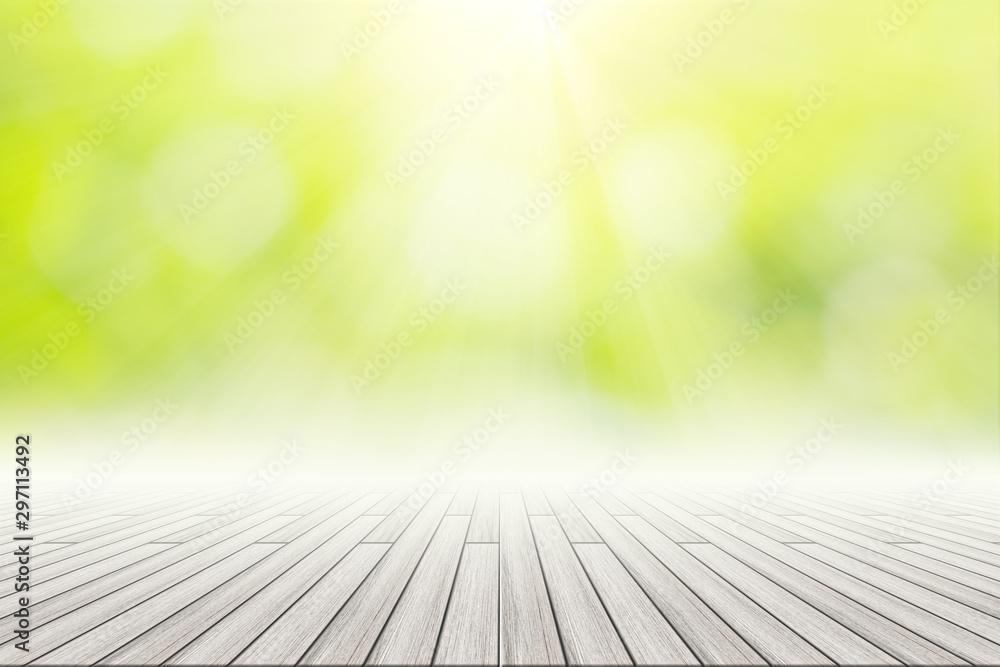 Fototapety, obrazy: Wooden Floor Scene Background Green Bokeh With Sun Light