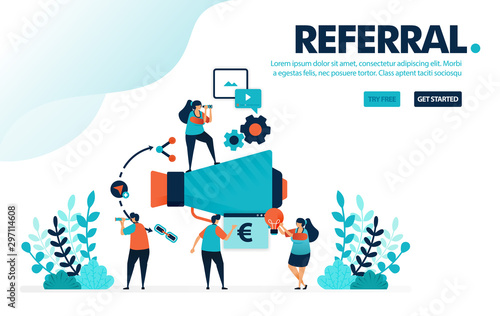 Vector illustration referral program Fototapet