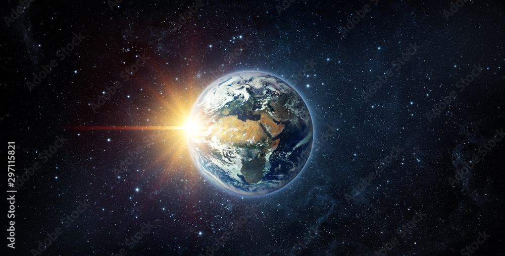 Fototapety, obrazy: Panoramic view of the Earth, sun, star and galaxy. Sunrise over planet Earth, view from space. Elements of this image furnished by NASA.