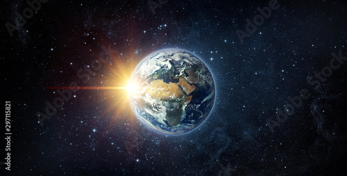 Obraz Panoramic view of the Earth, sun, star and galaxy. Sunrise over planet Earth, view from space. Elements of this image furnished by NASA. - fototapety do salonu
