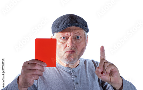Canvas Print A man shows a red card in front of white background