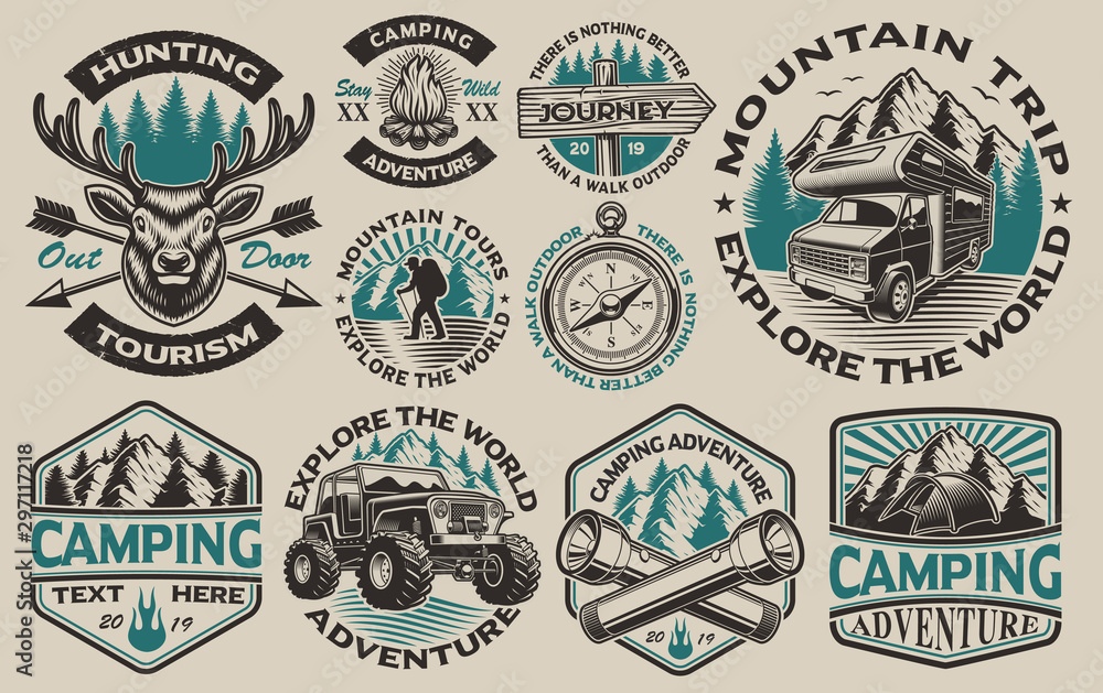 Fototapety, obrazy: Set of vector black and white logos for the camping theme