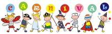 Carnival, Happy Kids And Masks, Vector Illustration On White Background. Group Of Little Girls And Boys With Balls With Text.Carnival, Happy Kids And Masks, Vector Illustration On White Background. Gr