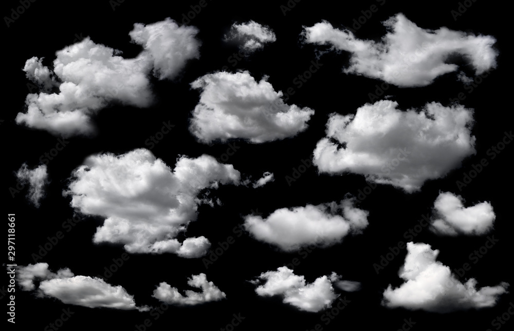 Fototapety, obrazy: Clouds set isolated on black background. White cloudiness, mist or smog background.