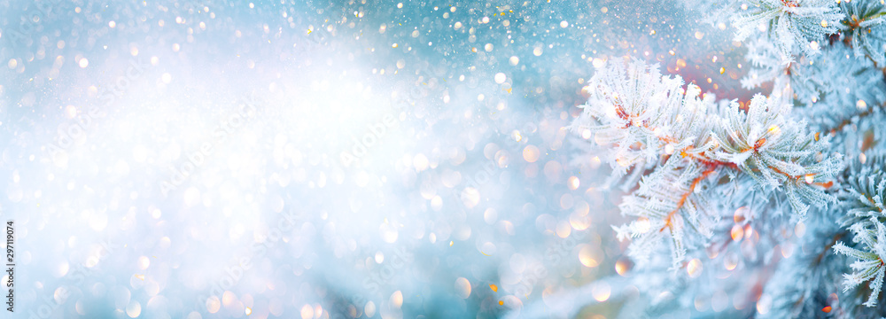 Fototapety, obrazy: Christmas winter blurred background. Xmas tree with snow decorated with garland lights, holiday festive background. Widescreen backdrop. New year Winter art design, wide screen holiday border