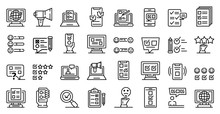 Online Survey Icons Set. Outli...