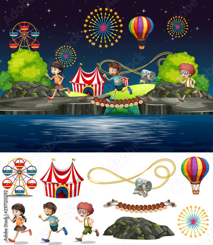 Canvas Prints Kids Scene background design with people playing in circus