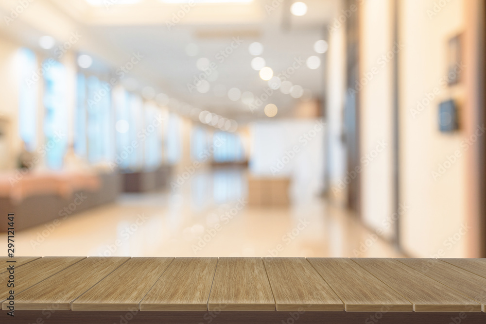 Fototapety, obrazy: wooden  shelves with view blurred backdrop.you can used for display products. or add your own text on space.