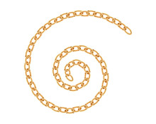 Realistic Gold Chain Texture. Golden Chains Link Isolated On White Background. Spiral Jewelry Chainlet Three Dimensional Design Element.