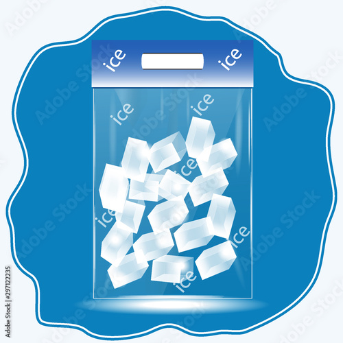Photo Ice cubes in transparent packaging on a blue abstract icon - isolated on a white background - art, vector