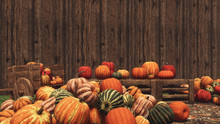 Various Colorful Autumn Pumpkins For Sale On Country Market Against Blank Wooden Wall Background With Copy Space. Thanksgiving And Halloween Festive Concept 3D Illustration.