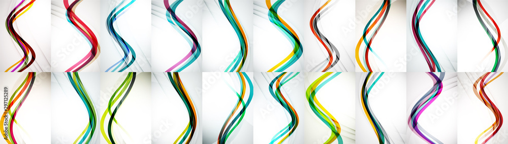 Fototapety, obrazy: Set of wave abstract backgrounds