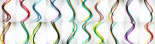 Cuadros en Lienzo  Set of wave abstract backgrounds