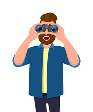 Amazed Young Man In Casual Wear Looking Through Binoculars With Opened Mouth. Shocked Male Character Is Viewing From A Binocular. Modern Lifestyle, Human Face Expression Concept In Cartoon Style.