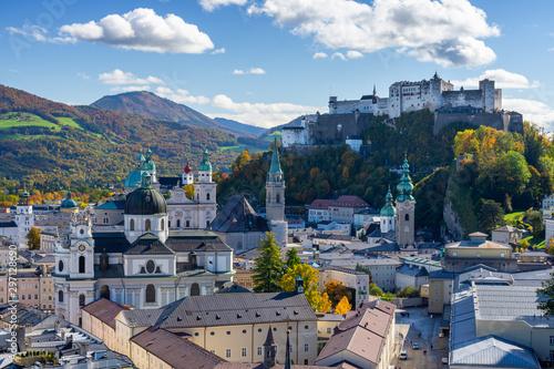 view on old town of Salzburg during autumn in Austria Tapéta, Fotótapéta