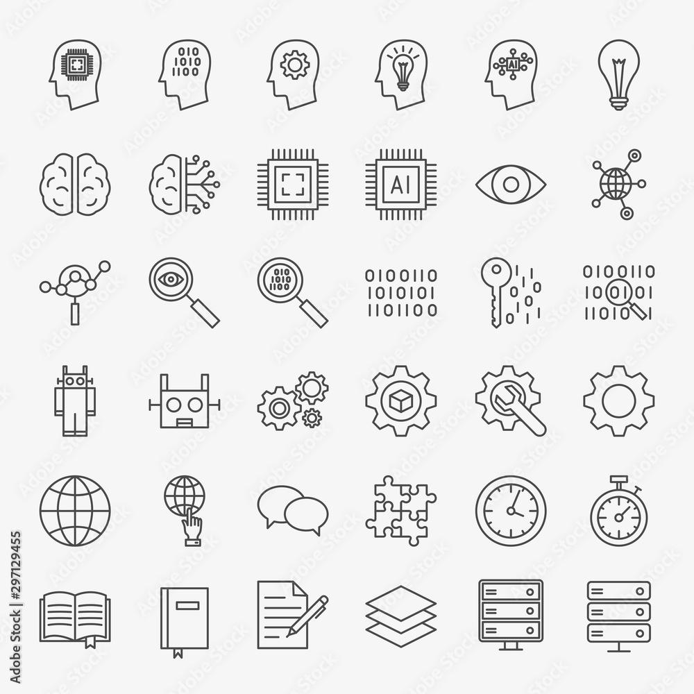 Fototapeta Machine Learning Line Icons Set
