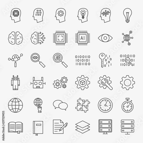 Fotografía Machine Learning Line Icons Set