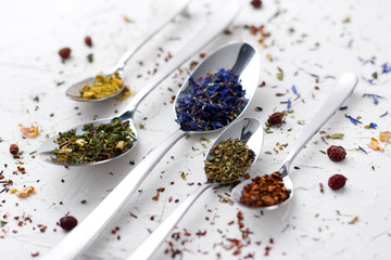 Flat lay leaves of red, fruit, herbal tea with spices.