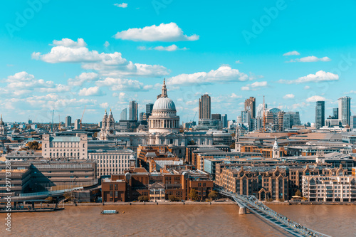 London skyline and St Paul Cathedral aerial view Canvas Print