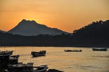 Sunset In Luang Prabang, Along The Mekong River, Laos