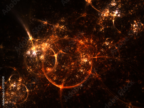 Fototapeta Golden clockwork fractal machine, digital artwork for creative graphic design obraz