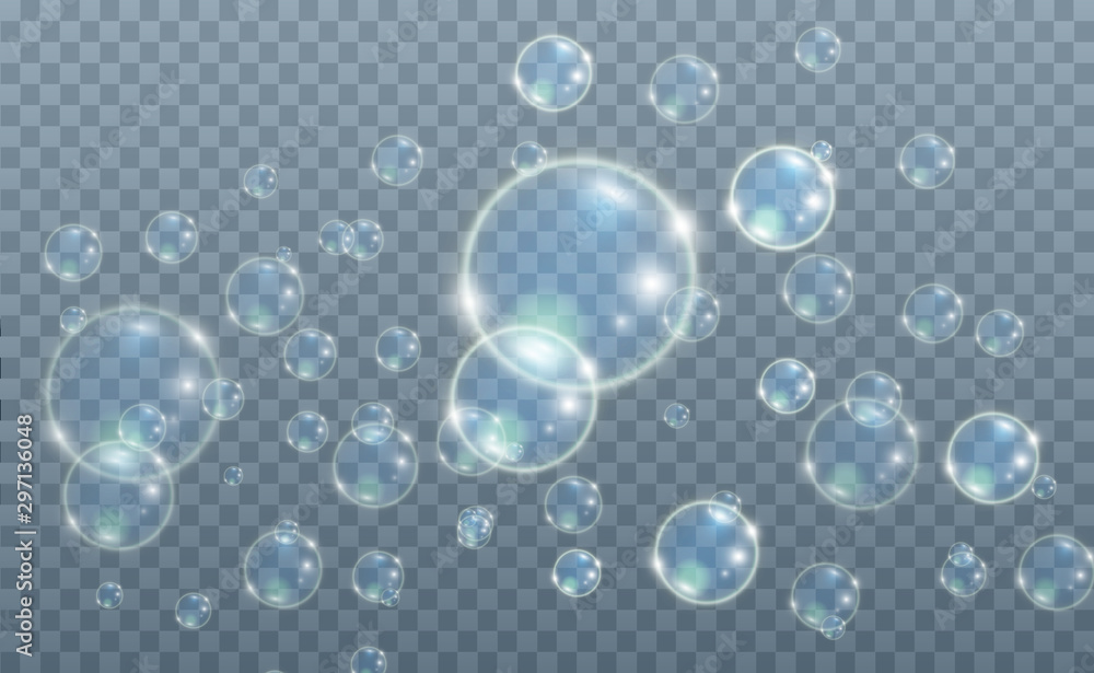 Fototapety, obrazy:  White beautiful bubbles on a transparent background vector illustration. Bubble.