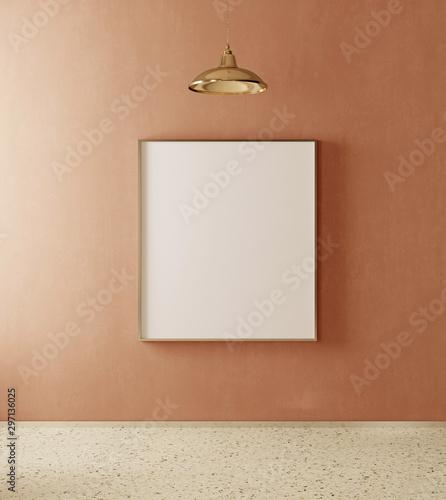 Fototapeta Mockup poster in the interior in modern style. Empty frame. 3d render image obraz na płótnie