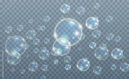 White beautiful bubbles on a transparent background vector illustration Canvas-taulu