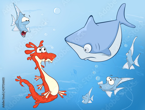 Fotobehang Babykamer Vector Illustration of a Cute Seahorse Underwater Adventures