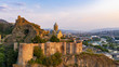 canvas print picture - Beautiful aerial and panoramic view of Tbilisi at sunset, Georgia, Europe