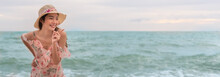 Asian Sexy Woman On The Beach, Summer Holiday Travel Trip Concept, Banner With Copy Space.