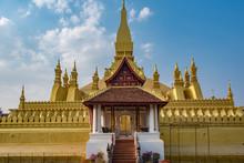 Pha That Luang Stupa, Symbol Of Laos, Vientiane City