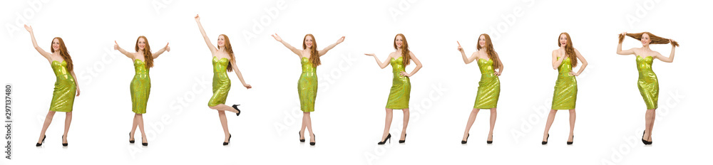 Fototapety, obrazy: Red hair girl saying hello isolated on white