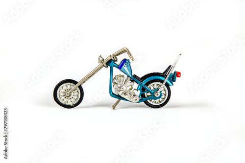 Türaufkleber Fahrrad Photo of a toy motorcycle on a white seamless background. 4