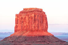 Merrick Butte Mesa Formation With Red Pink Rock Color In Monument Valley Canyons During Sunset Sunlight In Arizona Closeup