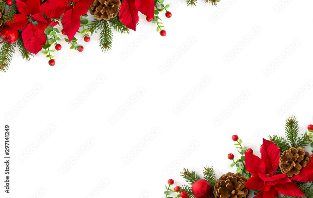 Fototapety, obrazy: Christmas decoration. Frame of flowers of red poinsettia, branch christmas tree, ball, red berry on a white background with space for text. Top view, flat lay