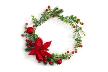 Christmas Decoration. Frame Of Flower Of Red Poinsettia, Branch Christmas Tree, Christmas Ball, Red Berry On A White Background With Space For Text. Top View, Flat Lay